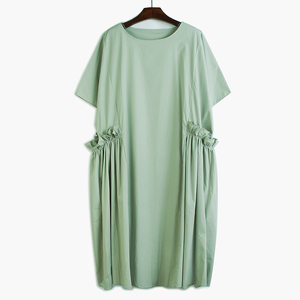 [EAM] Women Black Ruffles Split Joitn Big Size Dress New Round Neck Half Sleeve Loose Fit Fashion Tide Spring Summer 2020 1T097