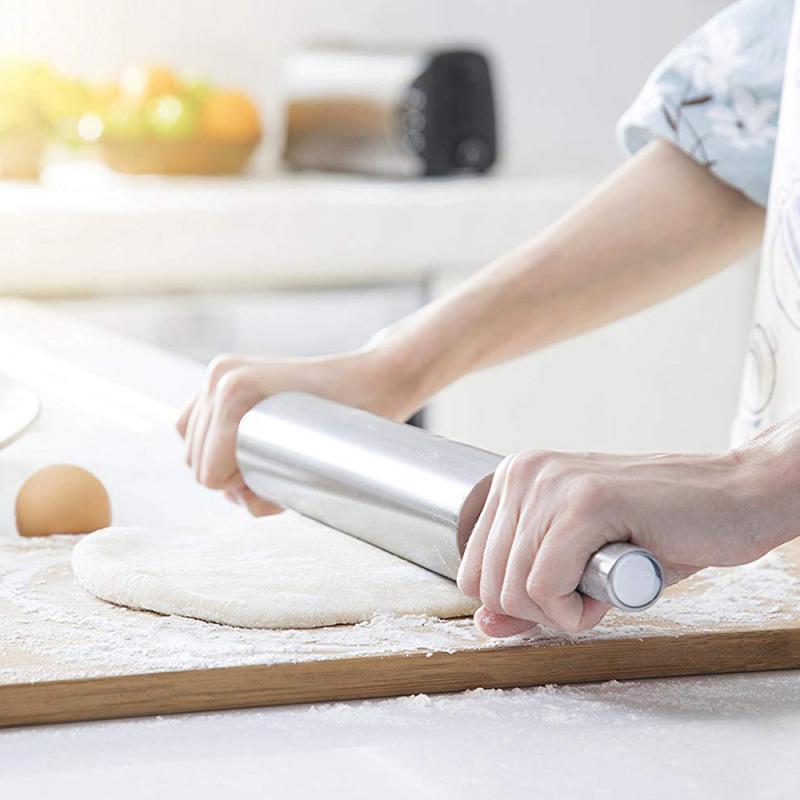 Rolo de massa de massa de massa de massa de massa de massa de massa de rolo de rolo de aço inoxidável assar pizza macarrão torta de biscoito que faz ferramentas de cozimento ferramenta de cozinha