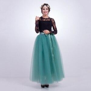 Image 4 - נשים של 7 שכבות 100CM ארוך טוטו טול חצאית אורך קומת קו טול מסיבת ערב חצאית חתונה כדור שמלת חצאית