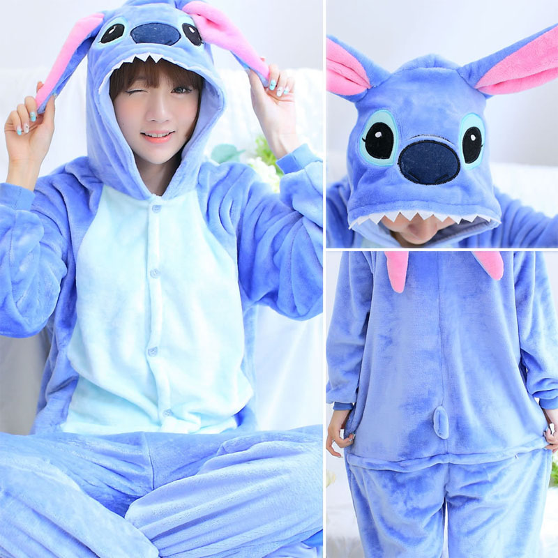 New Winter Women Men Unisex Adult Cute Cartoon Onesie Animal Pajamas Stitch Unicornio Unicorn Hooded Flannel Nightie Sleepwear