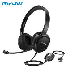 цена на Mpow BH331 Wired USB Headset/3.5mm PC Headphones With Environmental Noise Cancellation Mic For PC Tablet Skype Call Center Phone