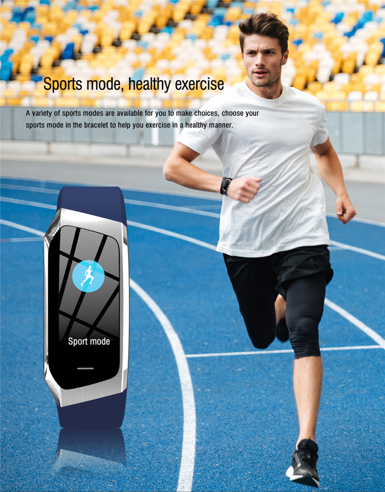 Ha7d1d940c5e24b669618622a2b1db6c4J E18 Smart Bracelet Blood Pressure Heart Rate Monitor Fitness Activity Tracker smart watch Waterproof Men Women Sport wrist band