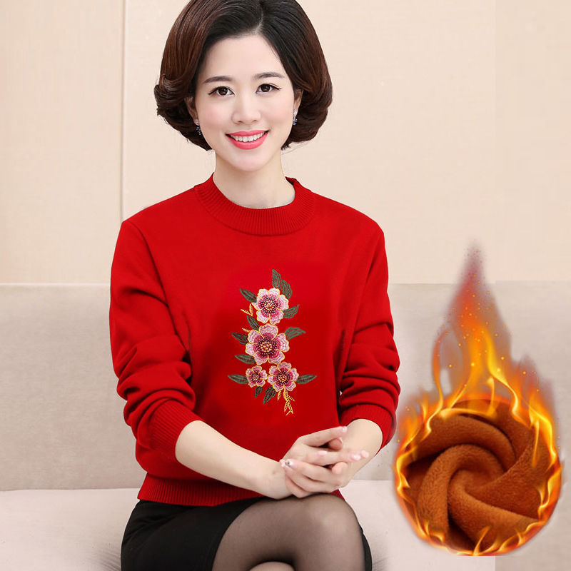 Thickened sweater bottoming shirt embroidered warm jacket for middle-aged and elderly people in autumn and winter round neck red
