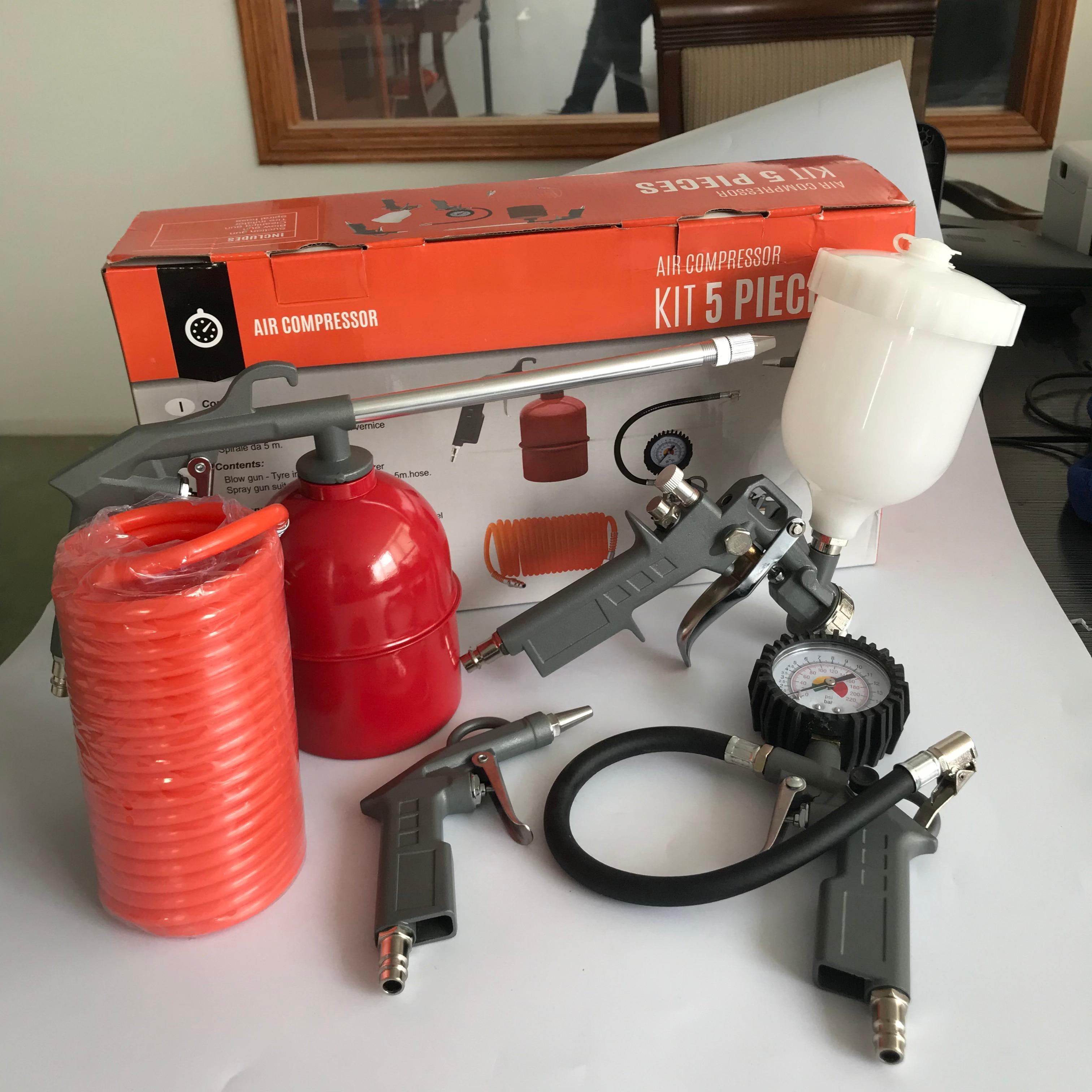 Spray Paint Gun Air Compressor Kit 5in1 Blow Gun + Tyre Inflating Gun + Atomizer Spray Gun + Clean Gun + 5M Hose USA 2-5days