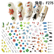1pcs 3D Nail Stickers Art Christmas Decals Snowman Wraps Snowflakes Adhesive Slider Manicure Decoration Tip Too