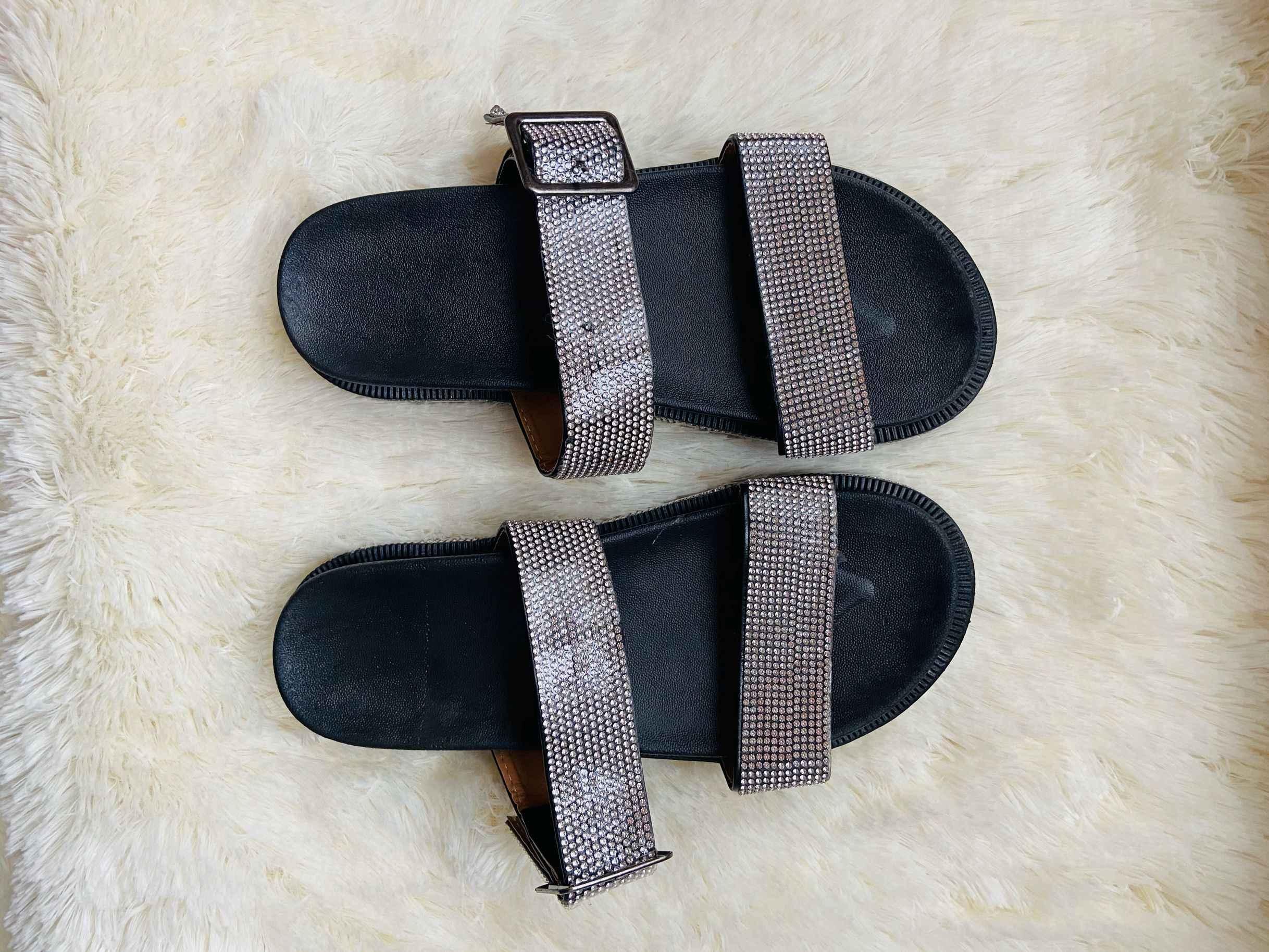 2019 yaz kadın ayakkabısı kama sandalet kalın platform terlik PU toka burnu açık terlik kalın alt kadın kaymaz ol
