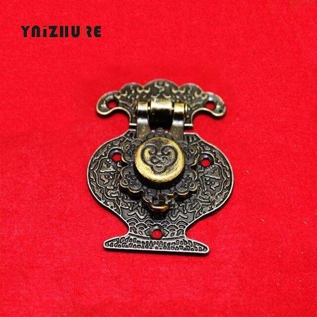 2 piezas 40mm x 51mm caja de joyería de madera jarrón hebilla caja de Metal cerrojo cierre decorativo antiguo patrón bronce tallada