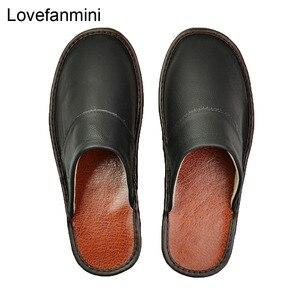 Image 2 - Тапочки из натуральной коровьей кожи для мужчин и женщин, Нескользящие домашние модные повседневные однотонные туфли, мягкая подошва из ПВХ, весна лето 518