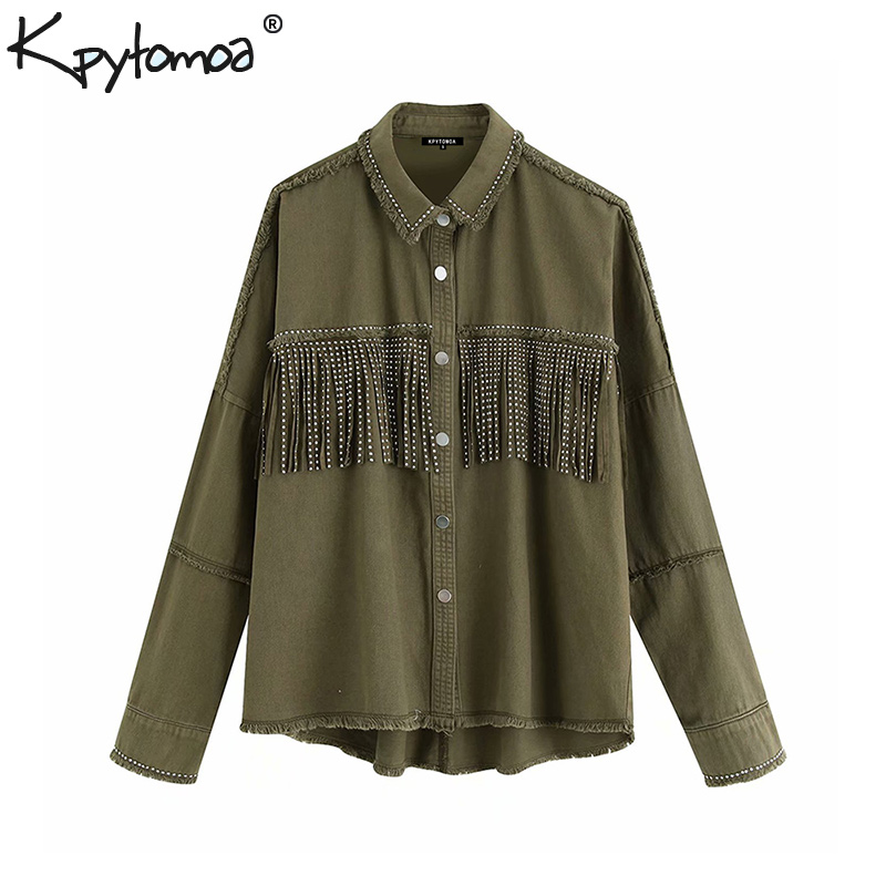 Vintage Stylish Fringe Beaded Loose Denim Jacket Coat Women 2019 Fashion Long Sleeve Frayed Trim Ladies Outerwear Chaqueta Mujer