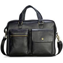 Мужская сумка из натуральной кожи большой деловой дорожный портфель