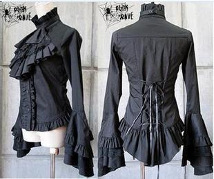 Блузка в японском стиле из хлопка в готическом стиле, рубашка с рукавами тюльпанами в винтажном стиле, Лолита, черный, синий, белый цвет, шифо...