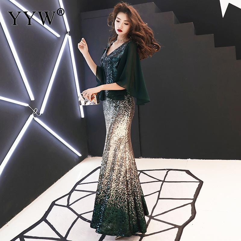 Mermaid Party Dress 2019 New Sexy V Neck Vintage Long Evening Dress Gradient Color Sequins Gowns Elegant Ladies Formal Vestidos
