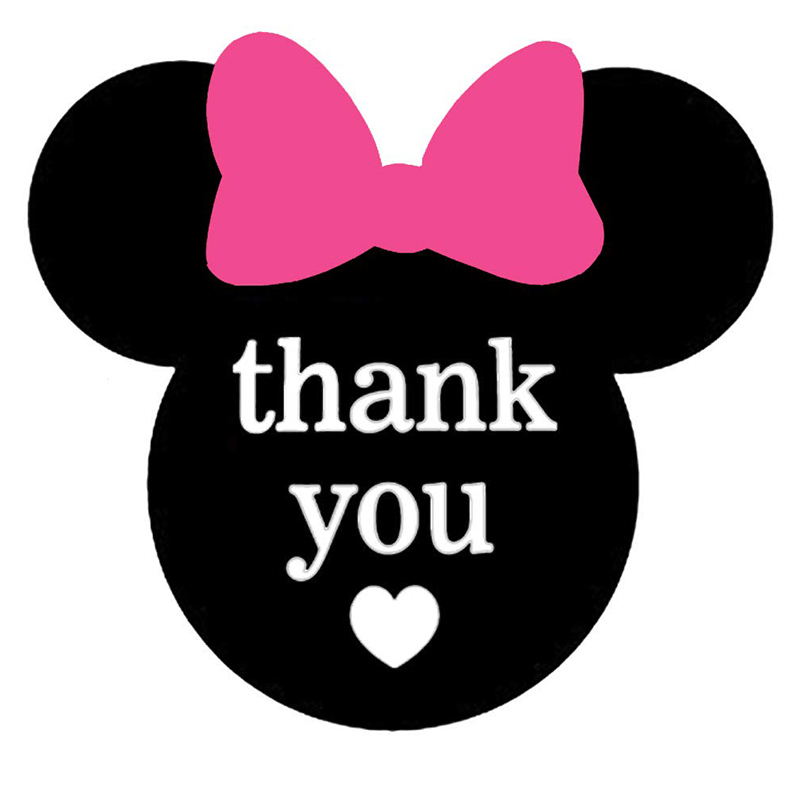 Mickey Minnie Mouse Thank You Stickers 2.38 x 2 inch Ears Labels for Envelope Seals Birthday Baby Shower Party