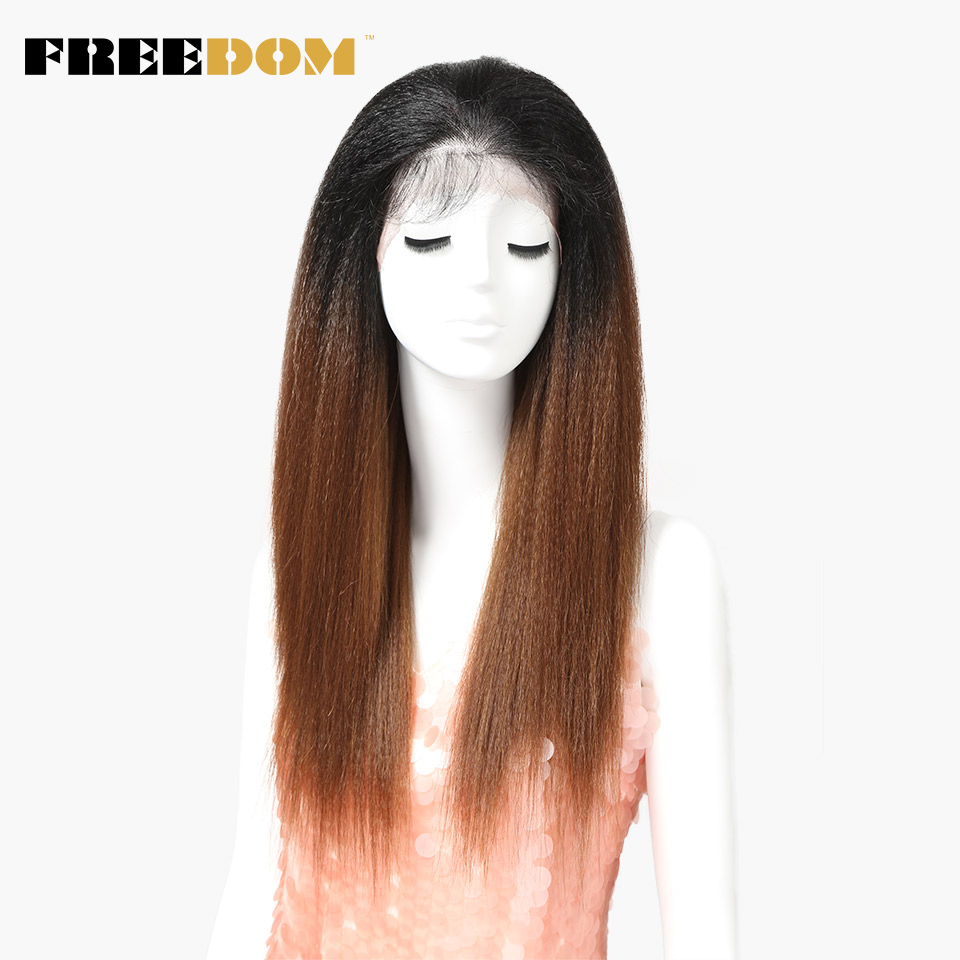 FREEDOM Synthetic Wigs With Baby Hair For Black Women 26 Inch Heat Resistant Fiber Long Ombre Brown Yaki Straight Lace Front Wig