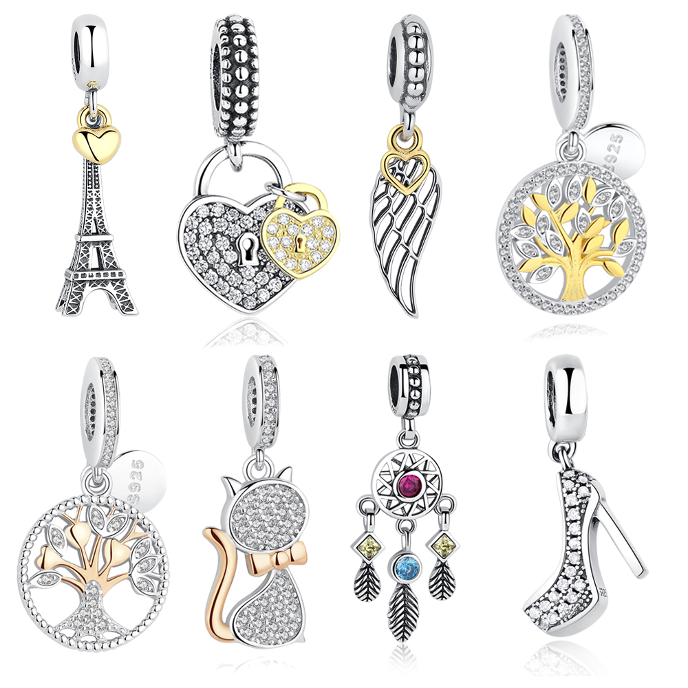 ELESHE 925 Sterling Silver Eiffel Tower Family Tree Gold Charm Bead Fit Original Bracelets & Bangles Pendant DIY Jewelry