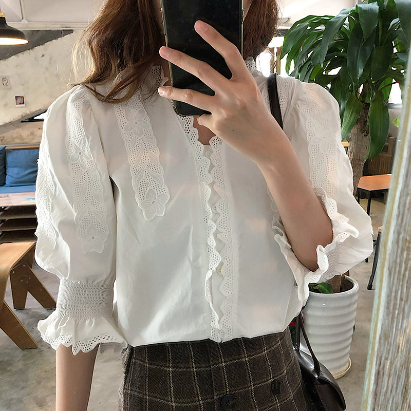 Alien Kitty White Patchwork Tops Women Gentle Lady New Blouses Loose Shirts 2020 Elegant Sweet Solid Brief Chic Femme Blusas