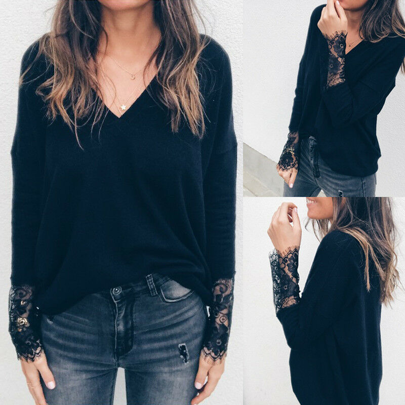 NEW Ladies Women Fashion Lace Black V Neck Oversize Long Sleeve Baggy Pullover Sweater Jumper Top