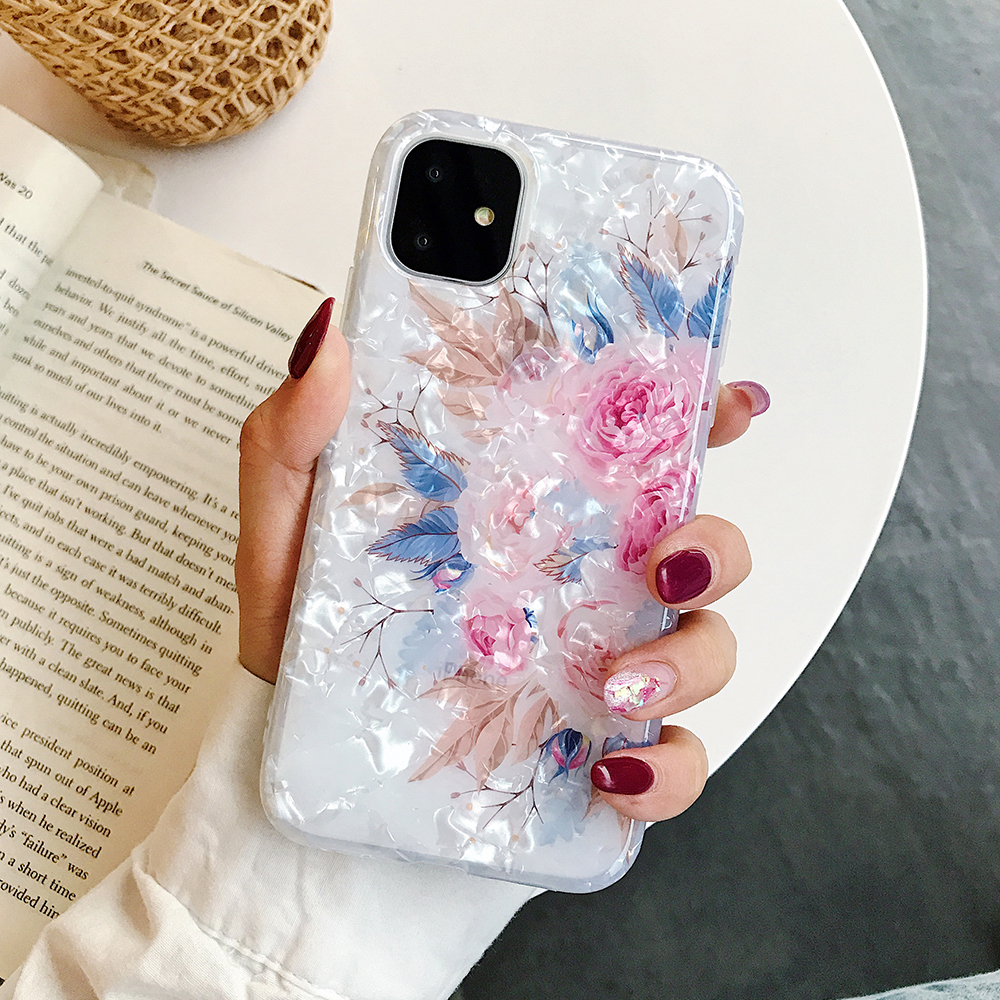 LOVECOM Retro Floral Ring Stand Phone Case For iPhone Models 23
