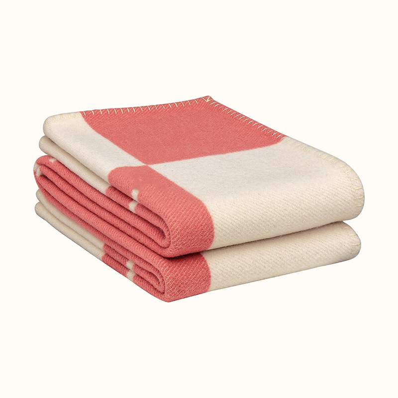 H Blanket Plaid Cashmere Crochet Soft Wool Scarf Portable Warm Sofa Bed Fleece Knitted Pink Throw Blanket Brand H letter-4