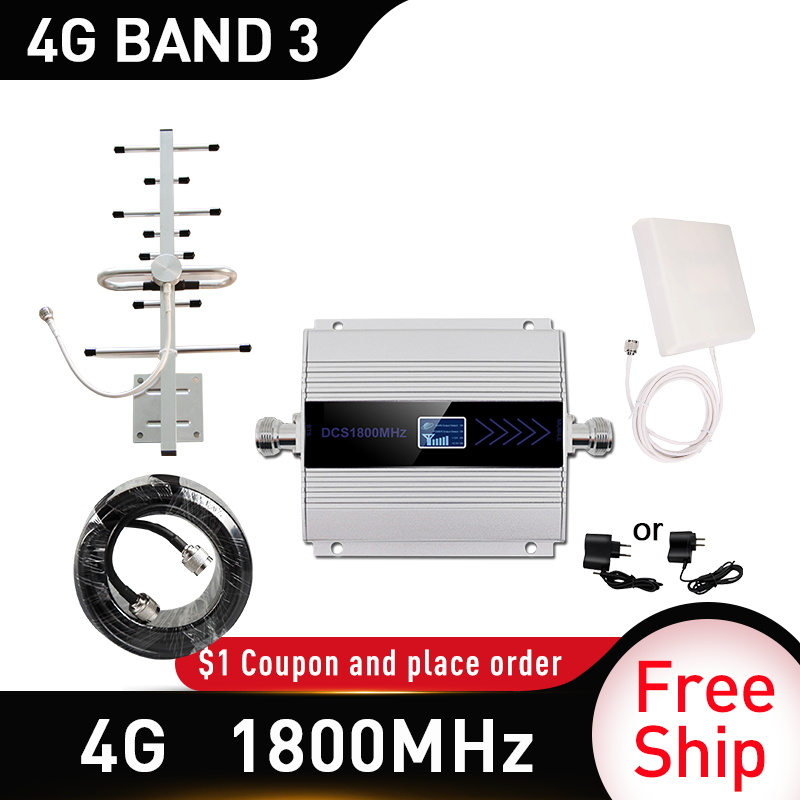 4g Signal Booster 1800mhz LTE GSM Mobile Signal Booster Repeater DCS 1800Mhz Cellphone Cellular GSM 9dbi Panel Indoor Antenna