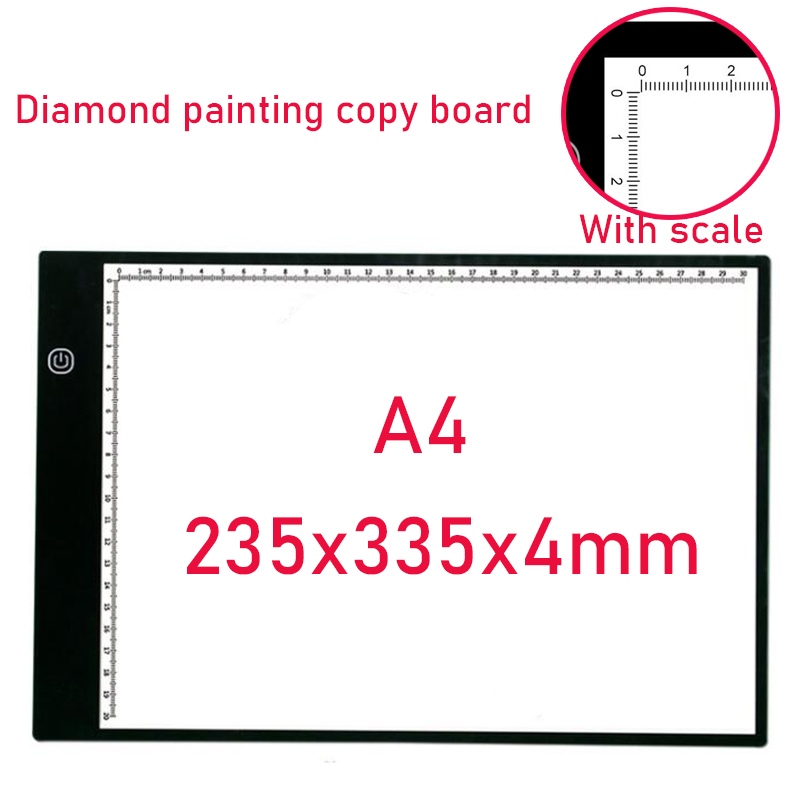 LED Light Box A4 Drawing With scale Tablet Graphic Writing Digital Tracer Copy Pad Board for Diamond Painting Hotfix Rhinestone