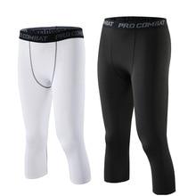 3/4 Men Compression Pants Sportwear Running Tights Sports Le