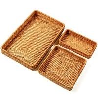 HHO Set Of 3 Handmade Rattan Rectangle Serving Tray Wicker Serving Organizer Tabletop Fruit Platter
