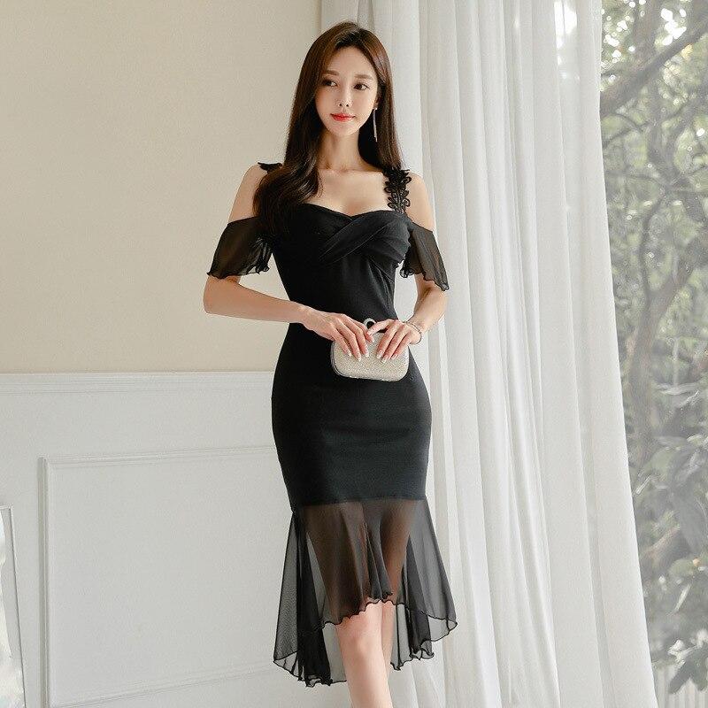 Sexy Black Cocktail Dresses Off The Shoulder Short Sleeve V-Neck Short Little Mermaid Dress Formal Party Gowns Vestido Coctel