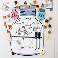 Креативная форма бутылки Магнитная сухая стираемая календарь стикер на холодильник белая доска расписание неделя ежемесячный планировщик...
