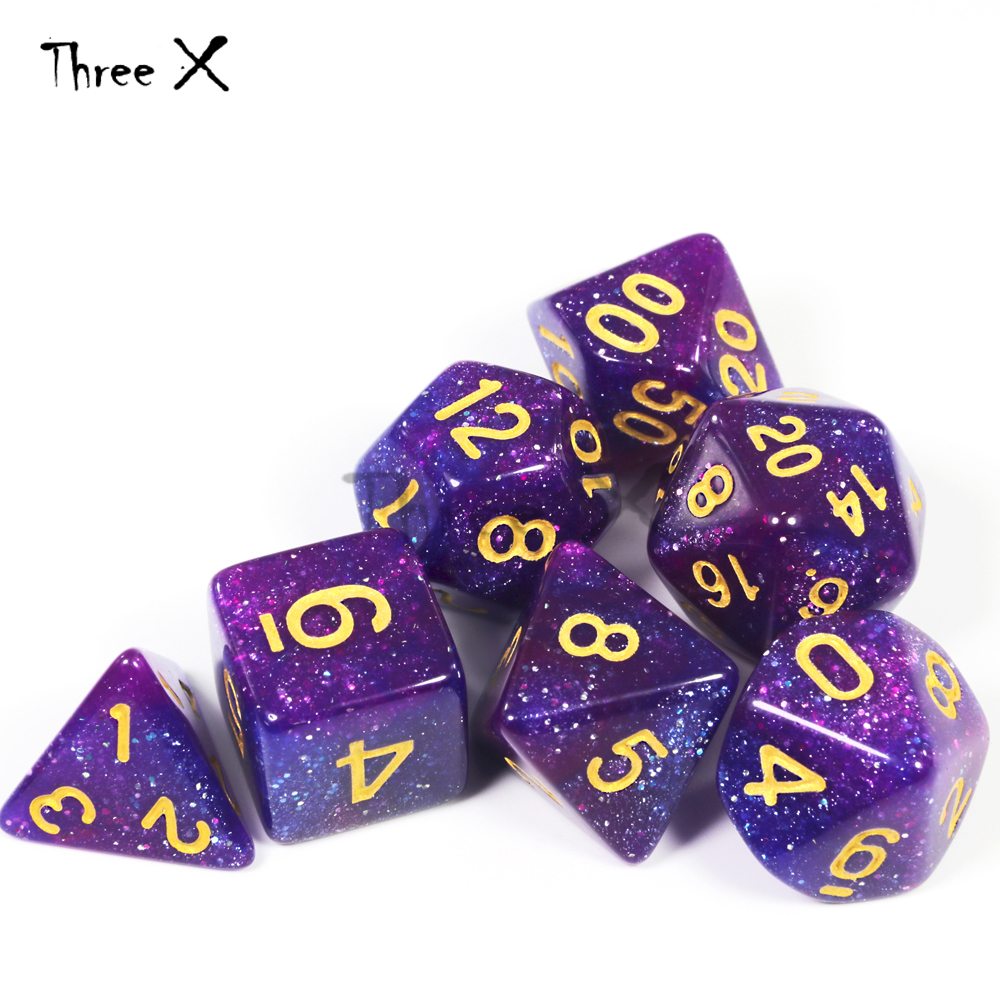 Mix-color Royal Universe Galaxy  Creative Dice Set Of D4-D20 With Mysterious Glitter Powder  For DND RPG Boardgame