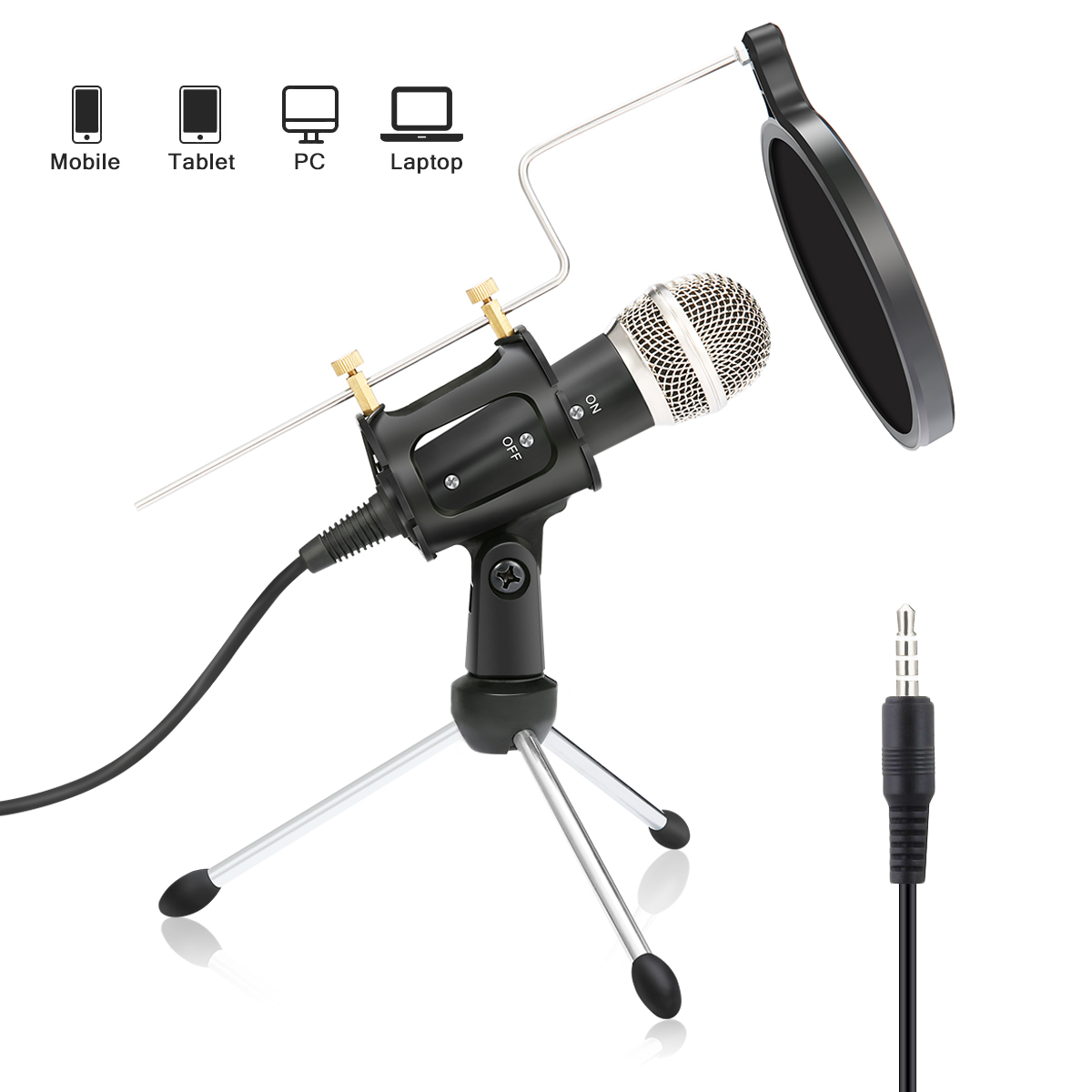 Condenser Microphone For Phone With Stand For Computer IOS Recording Podcasting Mobile Android Karaoke Usb Microfono XIAOKOA