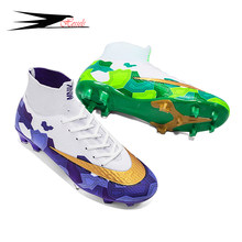 HESSELS Adult Kids Centipede Soccer Shoes Cleats Boot Futsal Professional Shoe TF/FG Football High Ankle Sneakers Size 35-45
