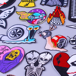 Skull Patch Hippie Iron on Patches On Clothes Punk Stripes Embroidered Patches For Clothes Plague Doctor Clothing DIY Applique
