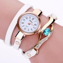Fashion Casual Bracelet Watch Women Silver Blue Rhinestone Wrap PU Leather Bracelet Chain Women Quartz Watches relogio feminina love wrap bracelet quartz watch