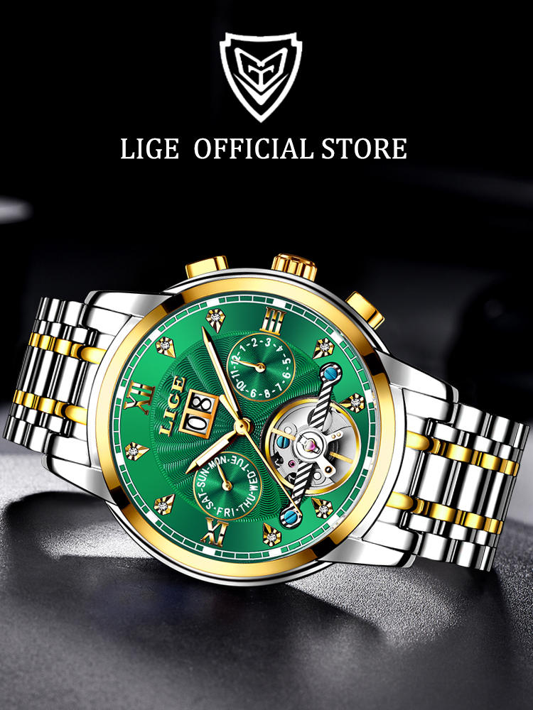 Tourbillon Watch Automatic Mechanical Luxury LIGE Relogio Fashion Masculino Men