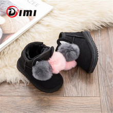 DIMI 2020 Winter Baby Girl Boots Rabbit Hair Ball Infant Toddler Cotton Shoes Non-Slip Warm Plush Child Snow Boots For Girl