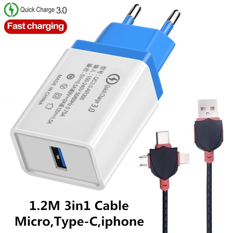 EU/US Quick Charge QC 3.0 USB Phone Chargers Cable Fast Charger Wall Charger For Samsung Xiaomi Huawei Iphone X 6 7 8 11 Charger