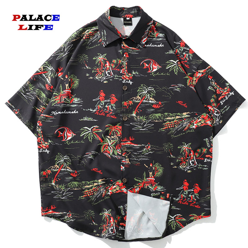 Hawaiian Beach palm tree print Shirts Men Casual Summer Party Holiday Fancy Cardigan Jackets Hip Hop Streetwear Outwear image