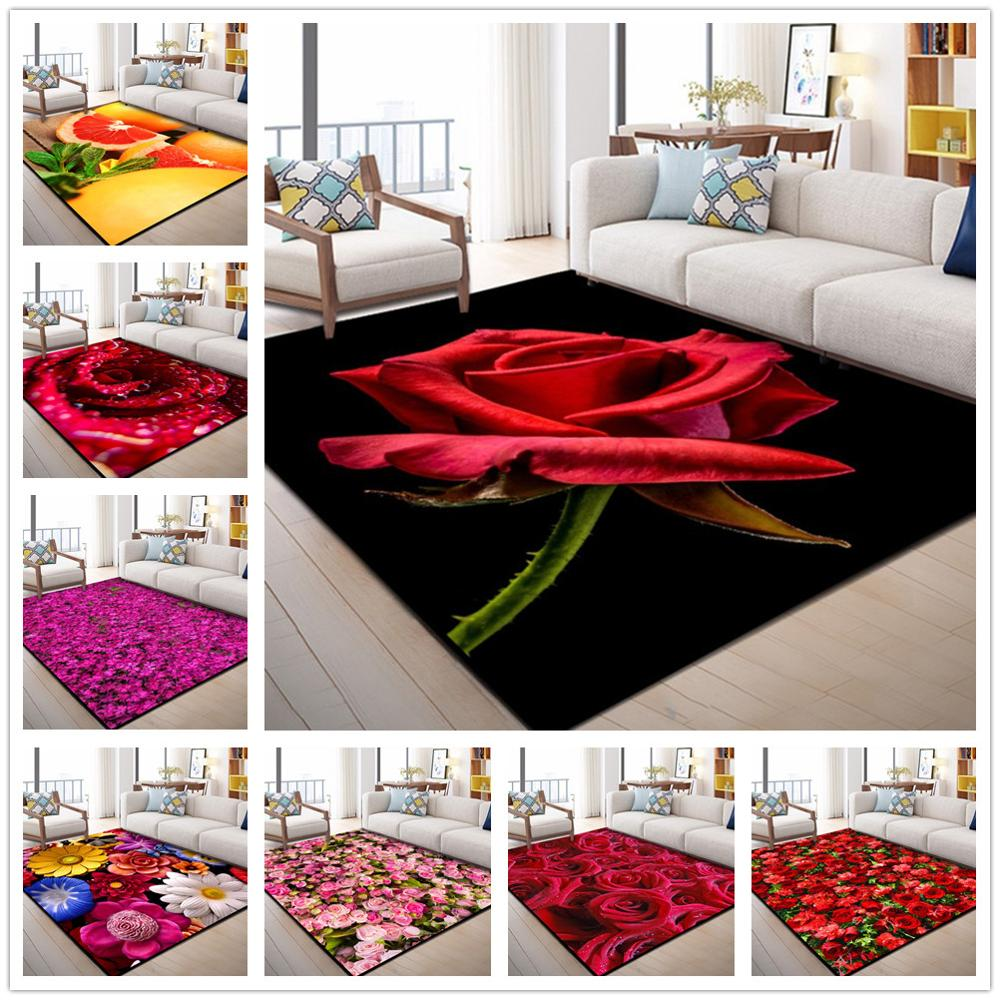 Creative 3D Garden Flower Carpets For Living Room Bedroom Area Rug Modern Flowers Print Hallway Carpet Child Play Tent Floor Mat