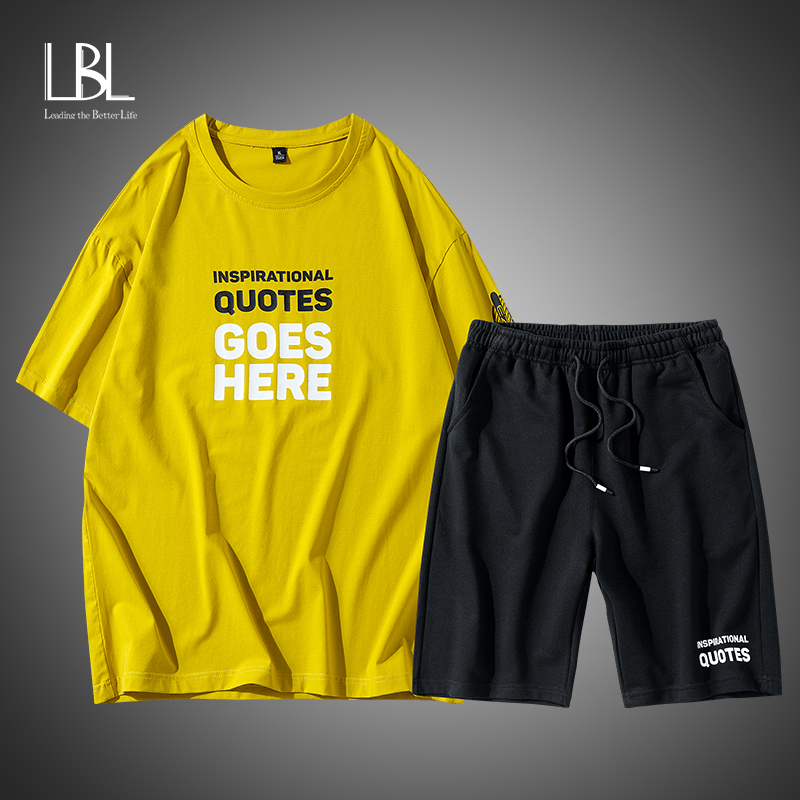 LBL Cotton T Shirts+Shorts Sets Men Brand Clothing Two Pieces Suit Summer Tracksuit Fashion Casual Tshirts Workout Fitness Sets