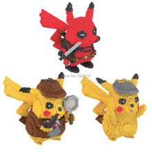 Hot Legoinglys Pencipta Klasik Jepang Anime Marvel Deadpool Poke Monster Detektif Pikachus Model Mini Mikro Berlian Blok Mainan(China)