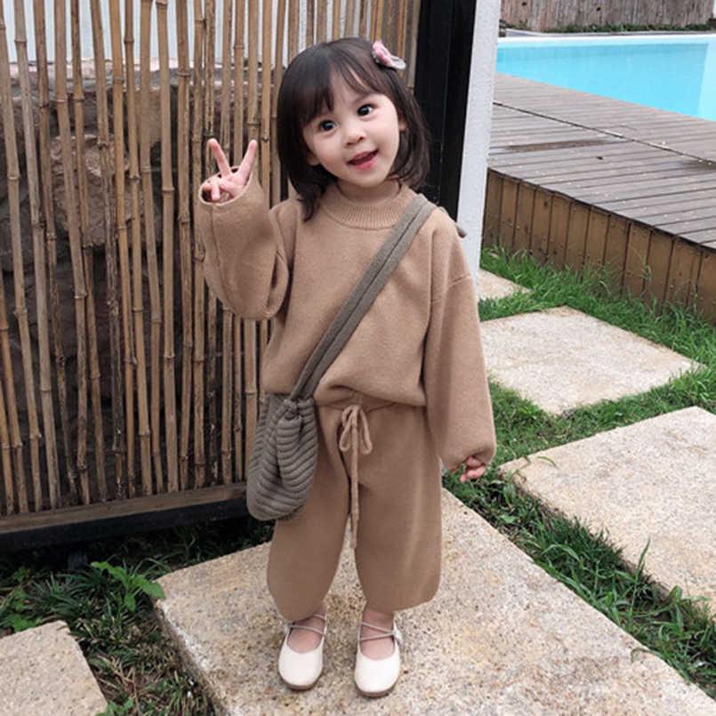 두꺼운 어린 소녀 의류 세트 겨울 코어 원사 긴 소매 니트 스웨터 + 넓은 다리 바지 여자 정장 어린이 의상 세트