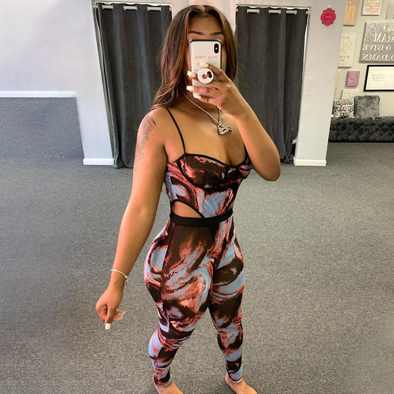 ANJAMANOR Fashion Print Sheer Mesh Pants Set Clubwear See Through Jumpsuit Women Two Piece Outfits Bodysuit Leggings D57-CD18 2