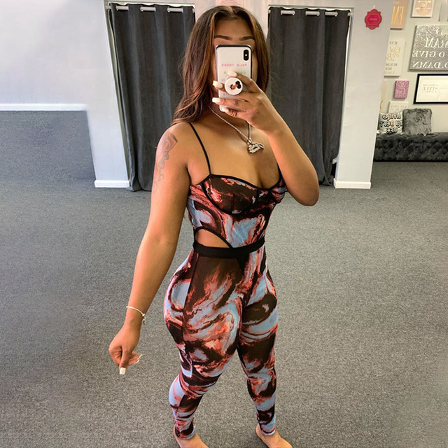 ANJAMANOR Fashion Print Sheer Mesh Pants Set Clubwear See Through Jumpsuit Women Two Piece Outfits Bodysuit Leggings D57-CD18 2