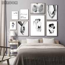 Hand with Hand Abstract Canvas Painting Couple Sweet Love Quotes Print Poster and Print Black White Wall Art Decoration Picture