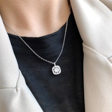 Square Drill Women Female Necklace Pendant Silver Color Fashion Long Necklaces Pendants With Chain For Gift . silver link luminous stone pendant necklace long chain moon pendant glow in dark hollow women necklace pendants jewelry