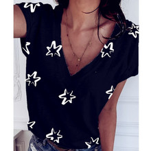 Women Star Tees Female 2020 V Neck Summer Befree Boho Cotton Casual Tops Femme Hole Out Lace