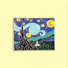 Van Gogh pintura al óleo esmalte Pin hermosa insignia de noche broche ropa de mezclilla mochila Arte Abstracto joyería regalo para amigos