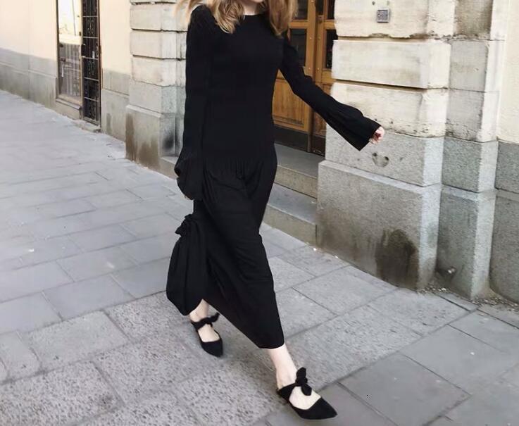 2019 Новое Женское платье миди осенне зимнее плиссированное платье с коротким рукавом, женские длинные платья, повседневная одежда - 2
