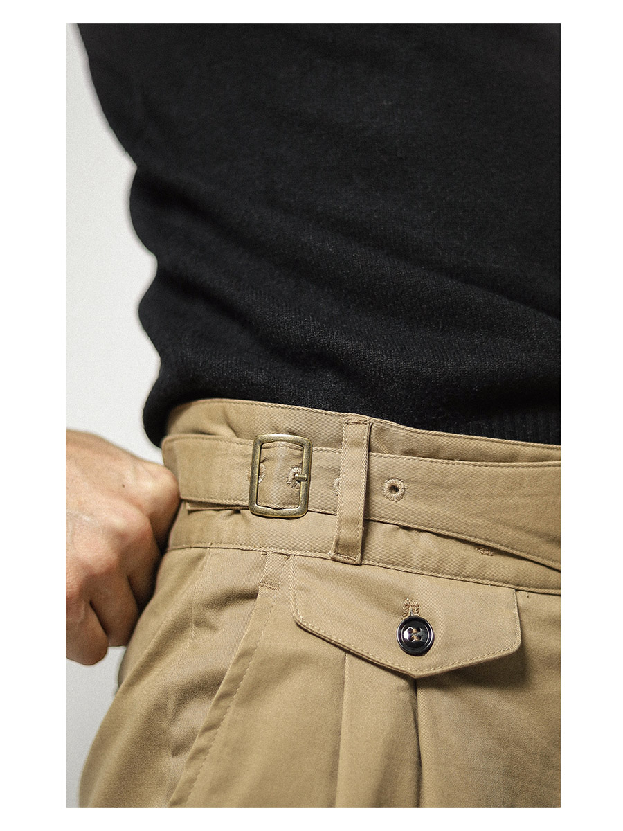 Amekaji easy-care trousers Men's military casual pants Gurkha double pleated pocket design overalls
